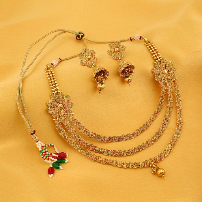 Sukkhi Delightful Three String Jalebi Gold Plated Necklace Set For Women