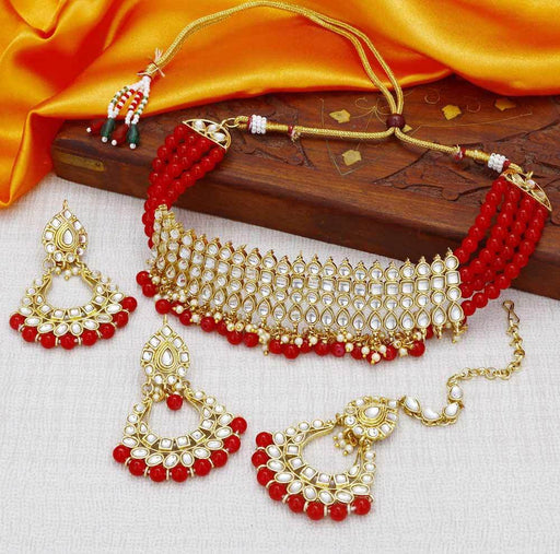 Sukkhi Kundan Modish Gold Plated Red Choker Necklace Set for women