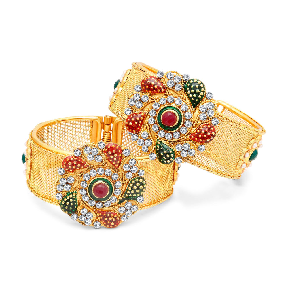 Sukkhi Glimmery Gold Plated AD Kada For Women Pack Of 2-1