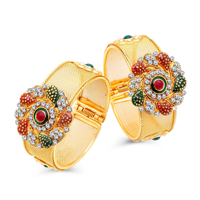 Sukkhi Glimmery Gold Plated AD Kada For Women Pack Of 2