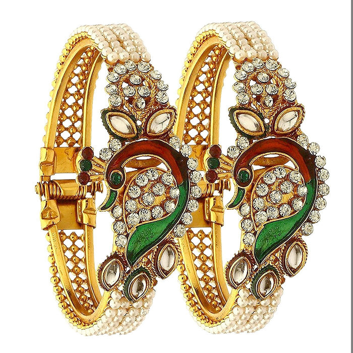 Sukkhi Traditional Peacock Gold Plated Pair Kada For Women