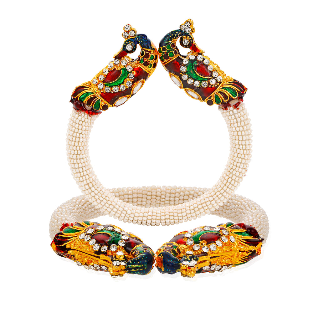 Sukkhi Cluster Gold Plated Peacock Peacock Kada for Women
