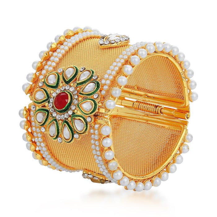 Sukkhi Equisite Gold Plated Kundan and Pearl Floral Kada for Women