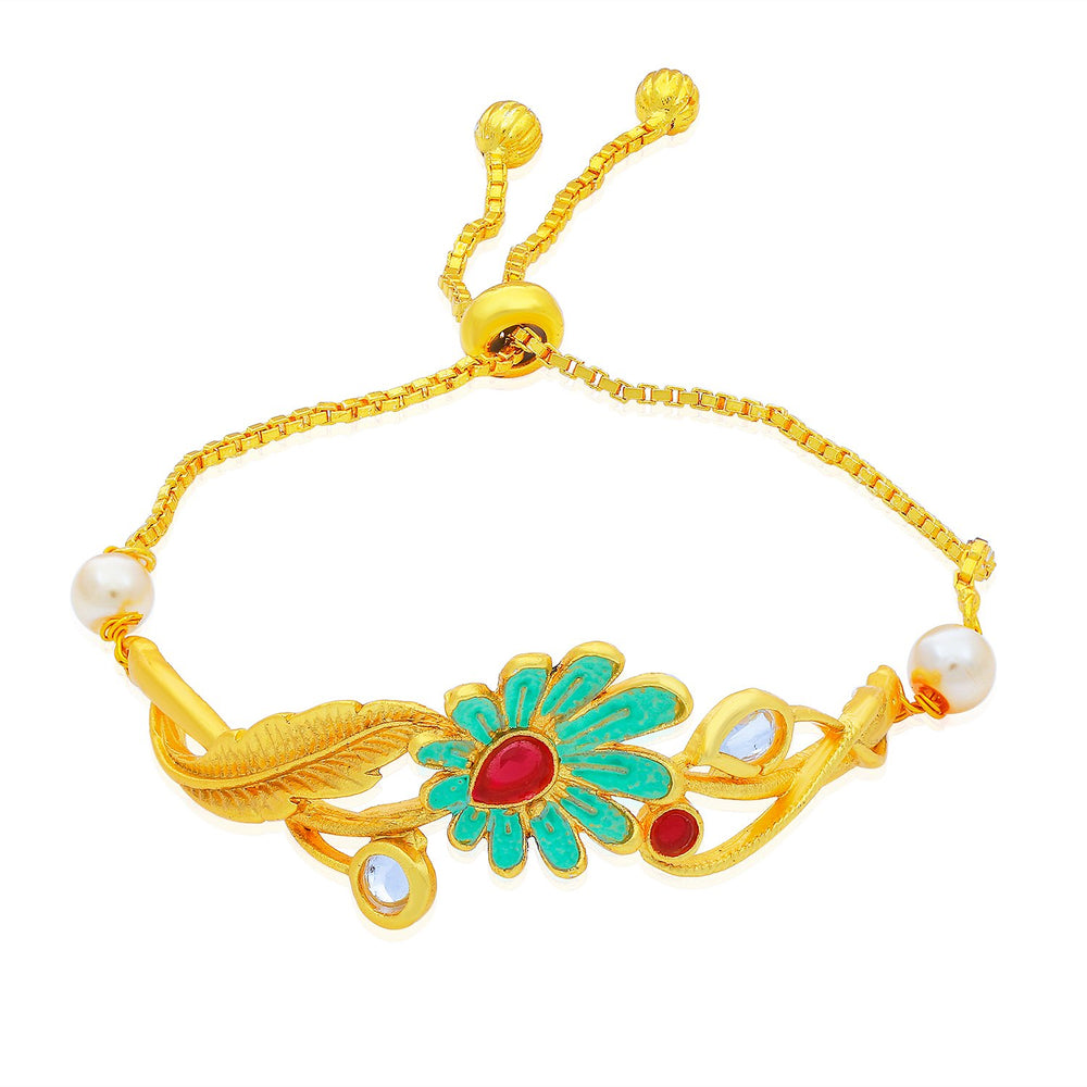 Sukkhi Gorgeous Gold Plated Floral Floral Kada for Women
