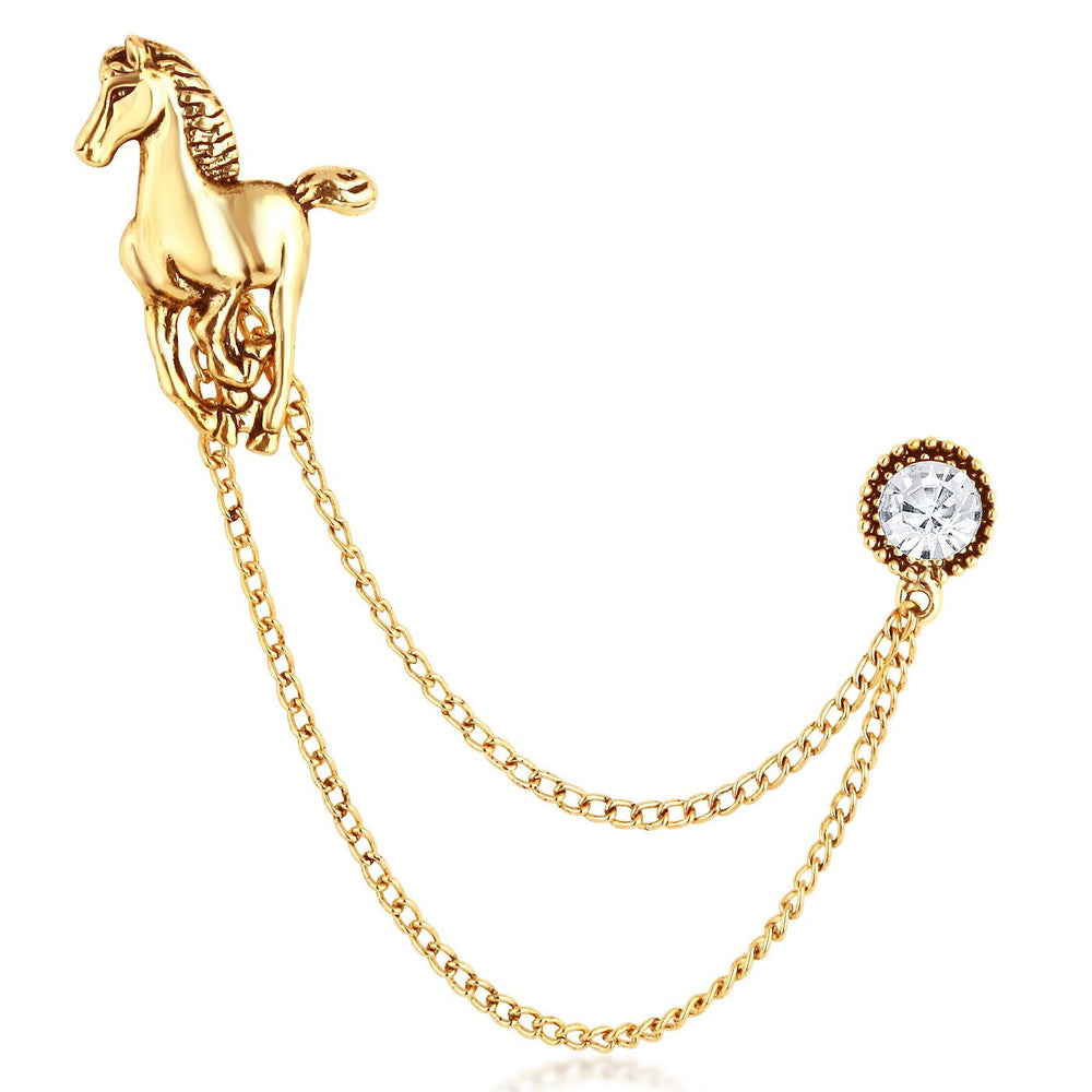 Sukkhi Stylish Gold Plated Horsed Shaped Mens Lapel Brooch pin