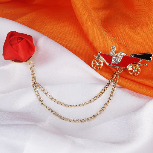 Sukkhi Modish Gold Plated Car and rose shaped Brooch pin