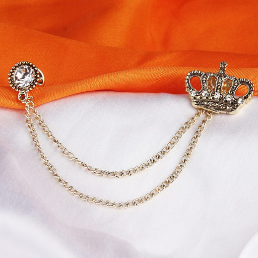 Sukkhi Elegant Gold Plated Crown Shaped Mens Brooch pin