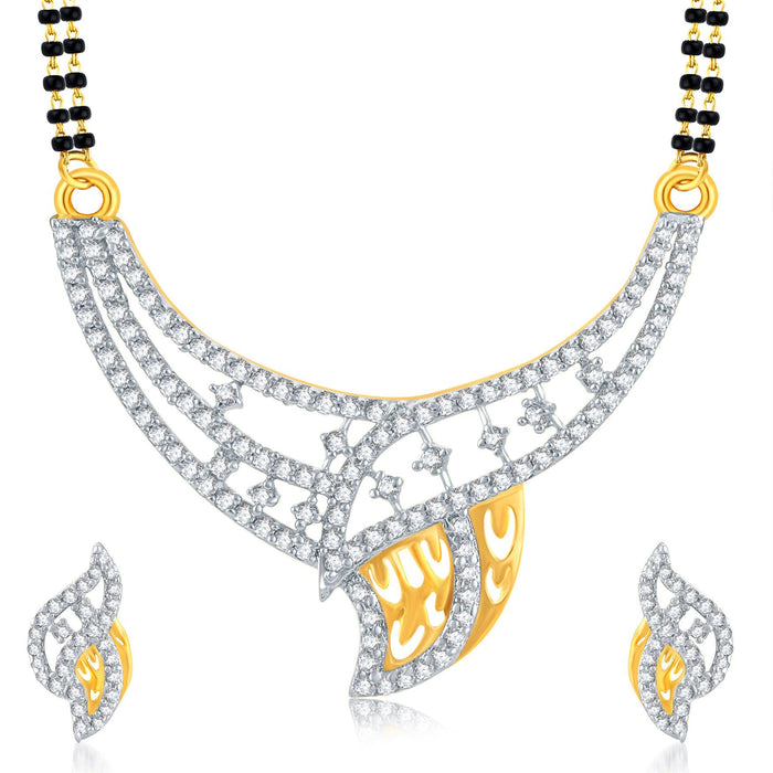 Pissara Eye-Catchy Gold Plated CZ Mangalsutra Set For Women