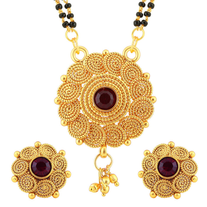 Sukkhi Classic Jalebi Design Gold Plated Mangalsutra Set for Women