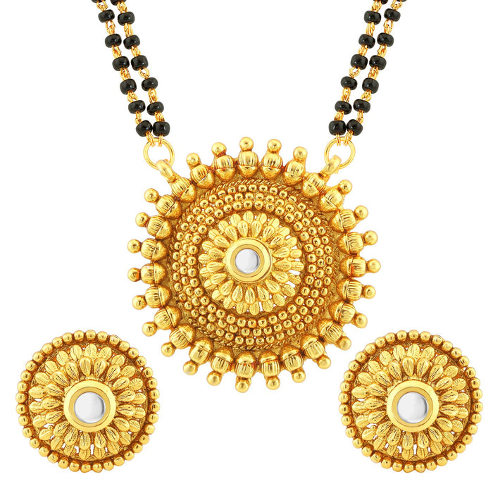 Sukkhi Modish AD Round Shaped Gold Plated Mangalsutra Set for Women