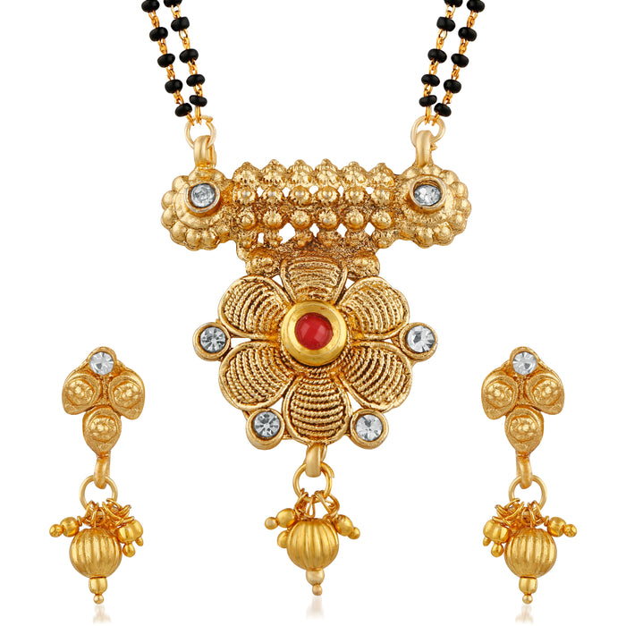 Trushi Blossomy Floral Gold Plated Designer Mangalsutra Set For Women