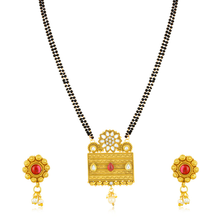 Sukkhi Classy Gold Plated Floral Floral Mangalsutra for Women