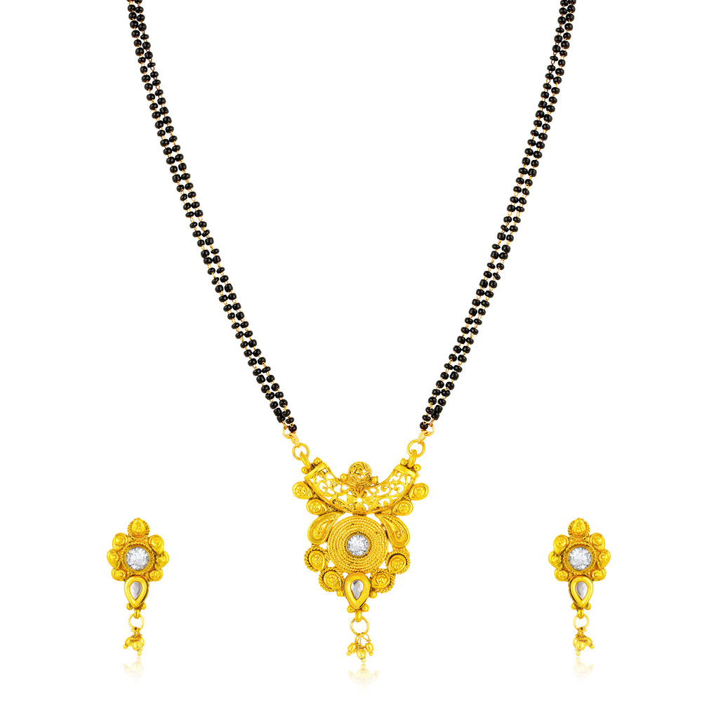 Sukkhi Equisite Gold Plated Kundan U Shape Mangalsutra for Women