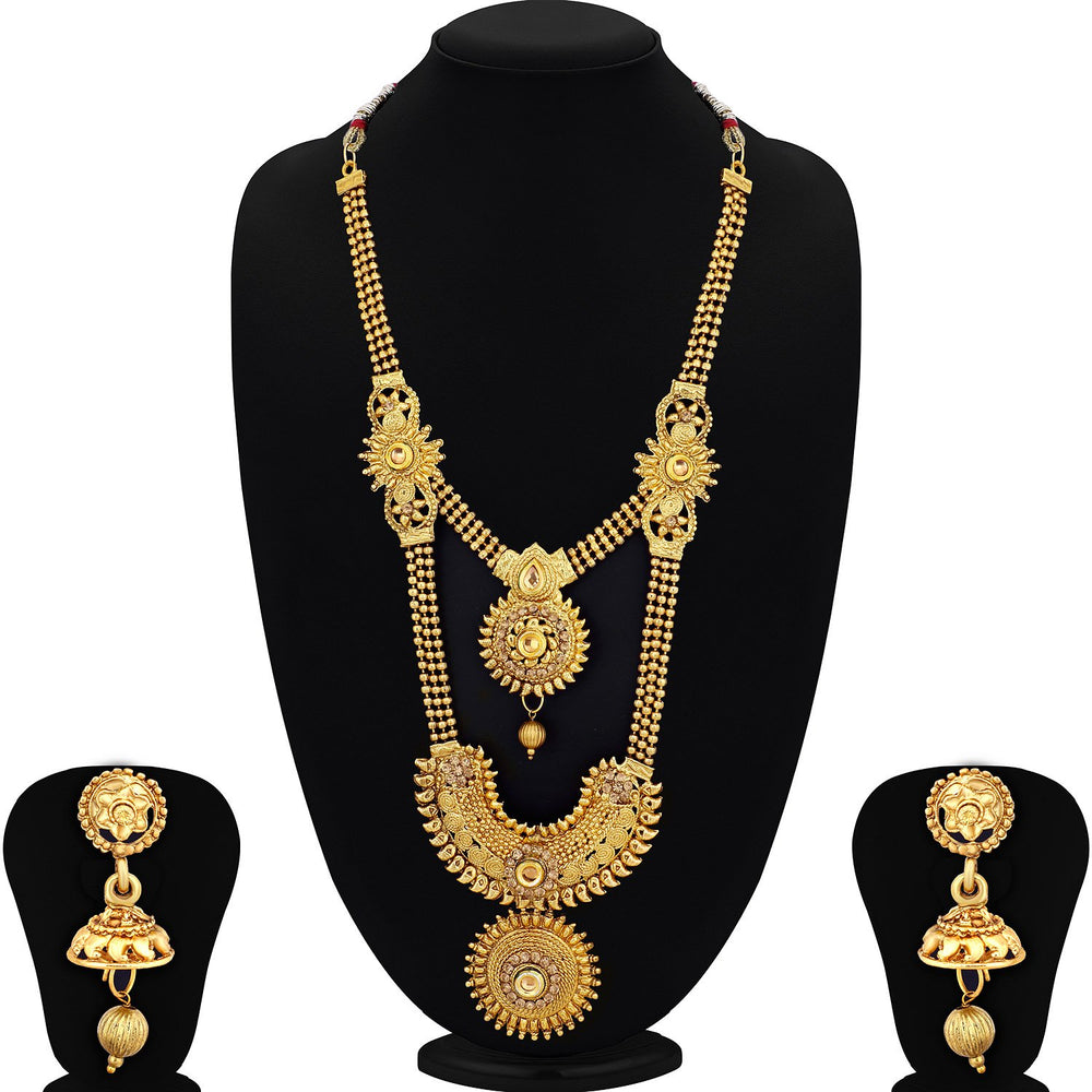 Sukkhi Marvellous Gold Plated Jalebi Long Haram Necklace Set for women