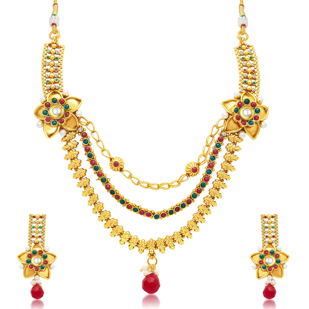 Sukkhi Sleek 3 String Gold Plated Bridal Necklace Set For Women