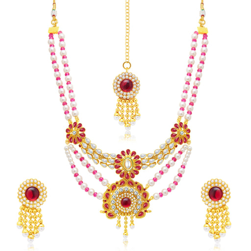 Sukkhi Delightly 3 String Gold Plated Bridal Necklace Set For Women