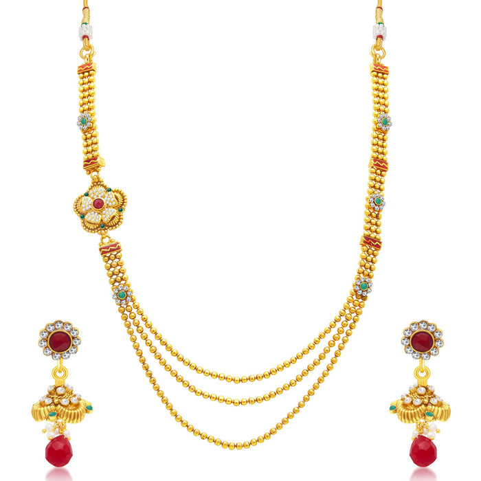 Sukkhi Ethnic 3 String Gold Plated Long Haram Necklace Set For Women