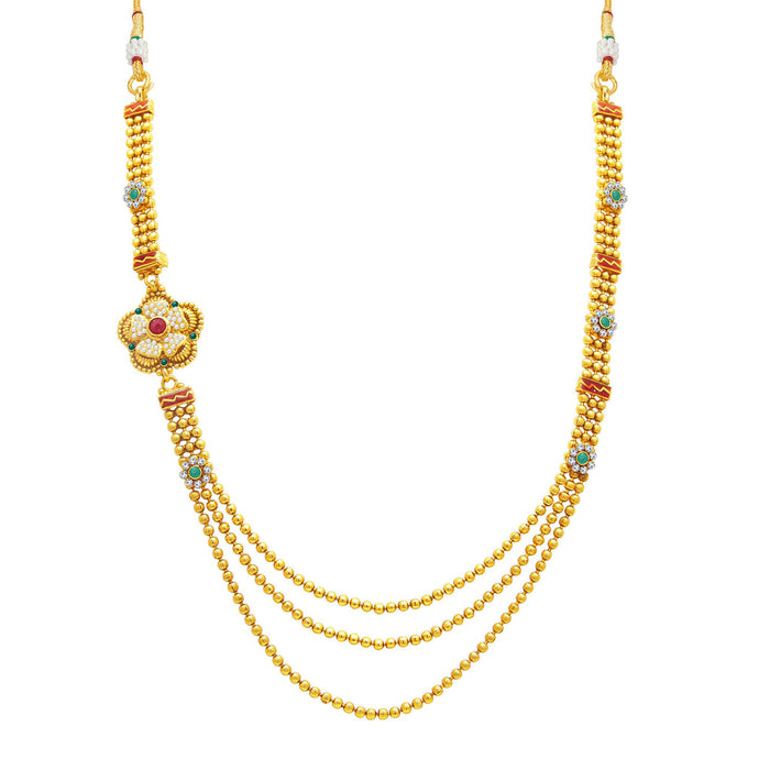 Sukkhi Ethnic 3 String Gold Plated Long Haram Necklace Set For Women-1