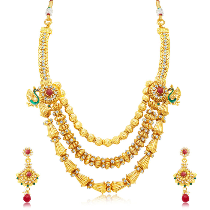 Sukkhi Elegant 3 String Peacock Gold Plated Long Haram Necklace Set For Women
