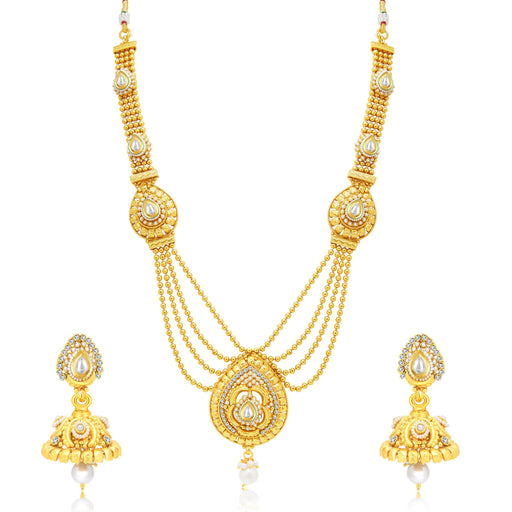 Sukkhi Marvellous 4 String Gold Plated Bridal Necklace Set For Women