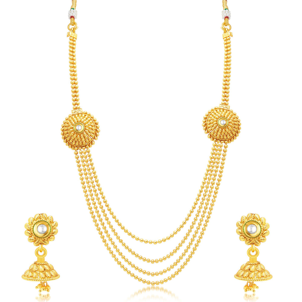 Sukkhi Enchanting 4 String Gold Plated Long Haram Necklace Set For Women