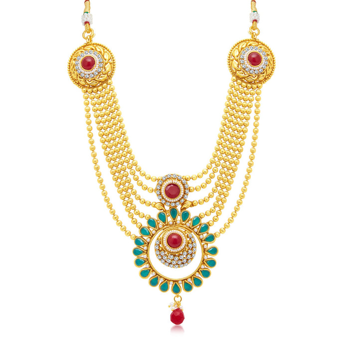 Sukkhi Excellent 6 String Gold Plated Long Haram Necklace Set For Women-1