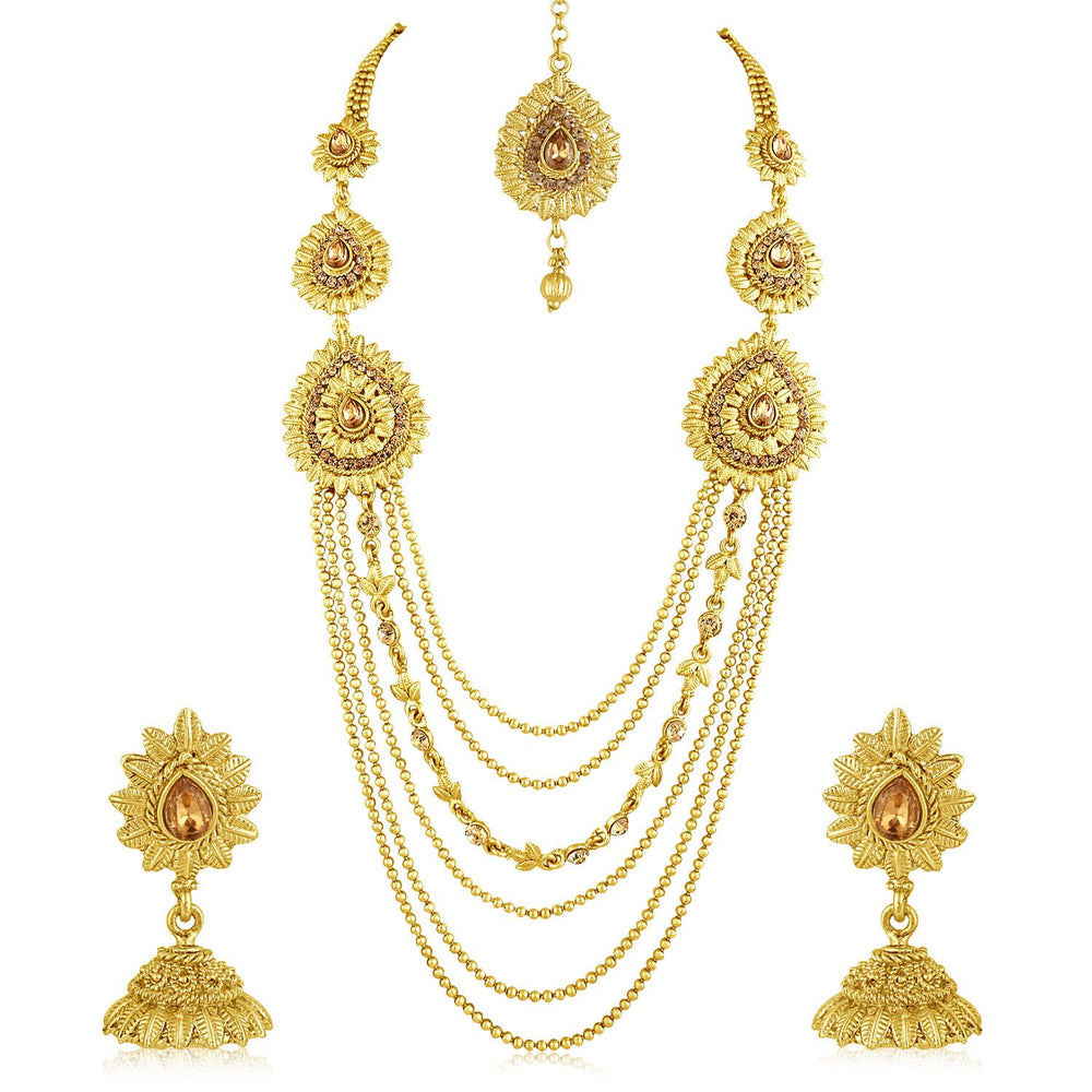 Sukkhi Exquisite 6 String Gold Plated Long Haram Necklace Set For Women