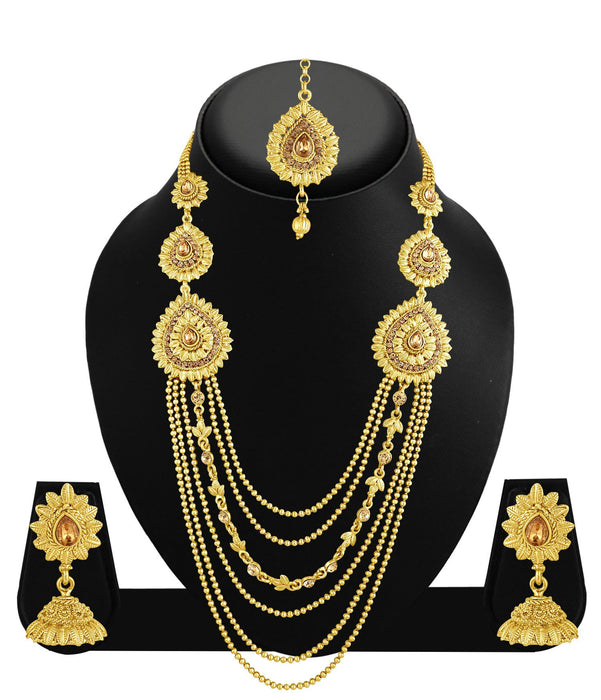 Sukkhi Exquisite 6 String Gold Plated Long Haram Necklace Set For Women-1