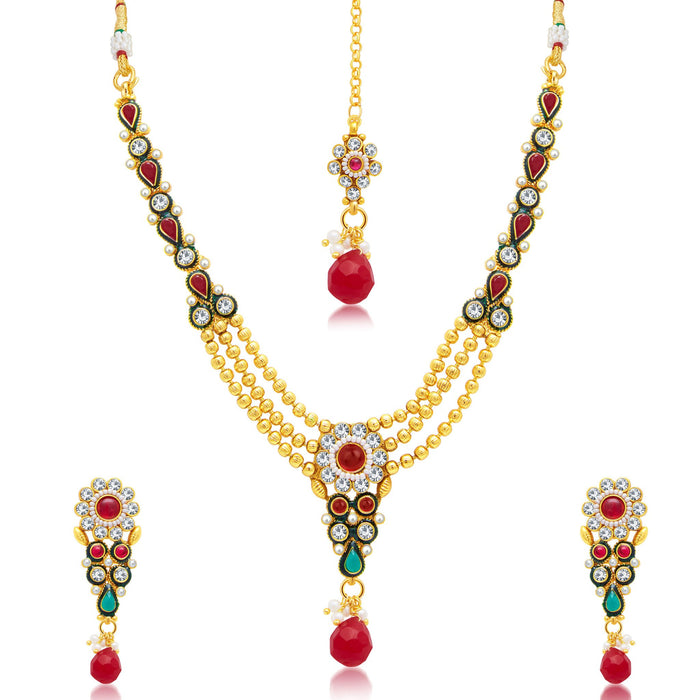Sukkhi Sparkling Gold Plated Bridal Necklace Set For Women