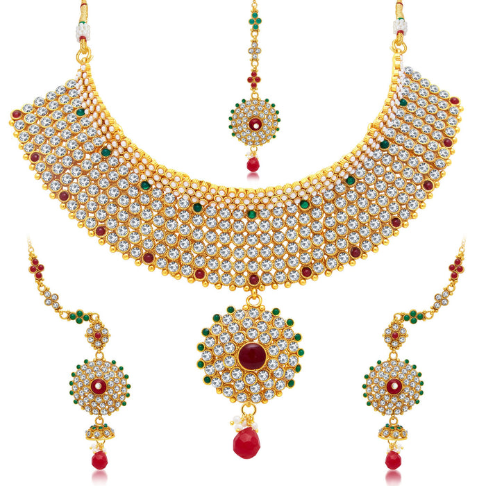 Sukkhi Astonishing Gold Plated Choker Necklace Set For Women