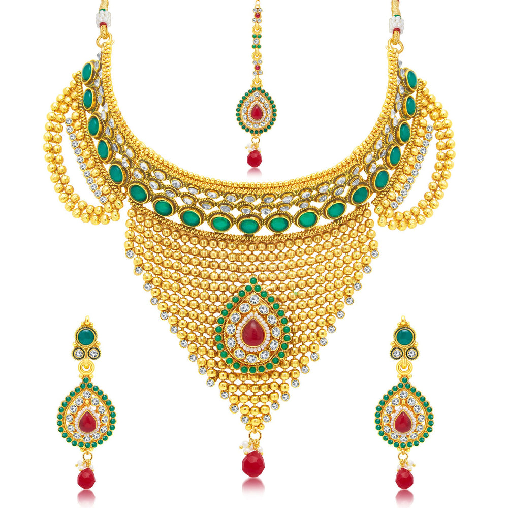 Sukkhi Exotic Gold Plated Choker Necklace Set For Women