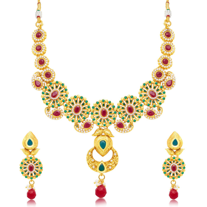 Sukkhi Classy Gold Plated Choker Necklace Set For Women