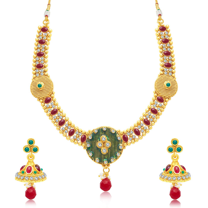 Sukkhi Ethnic Gold Plated Choker Necklace Set For Women