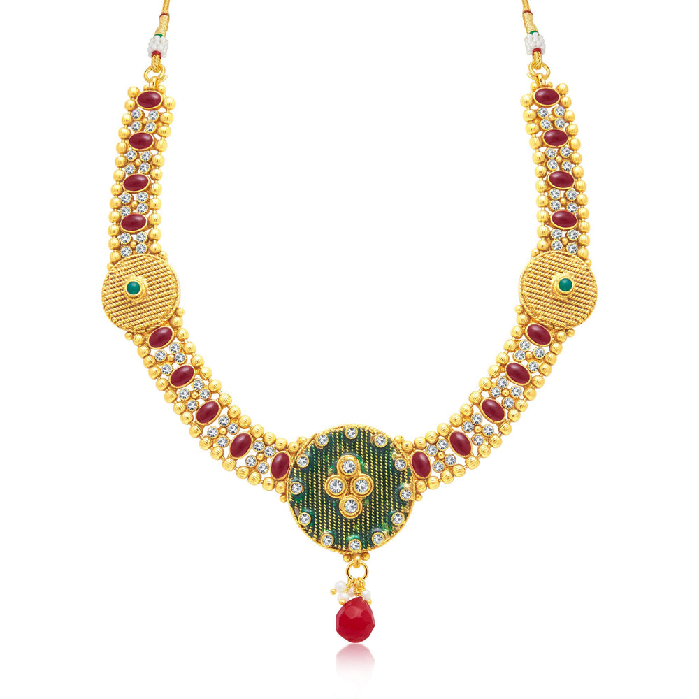 Sukkhi Ethnic Gold Plated Choker Necklace Set For Women-1