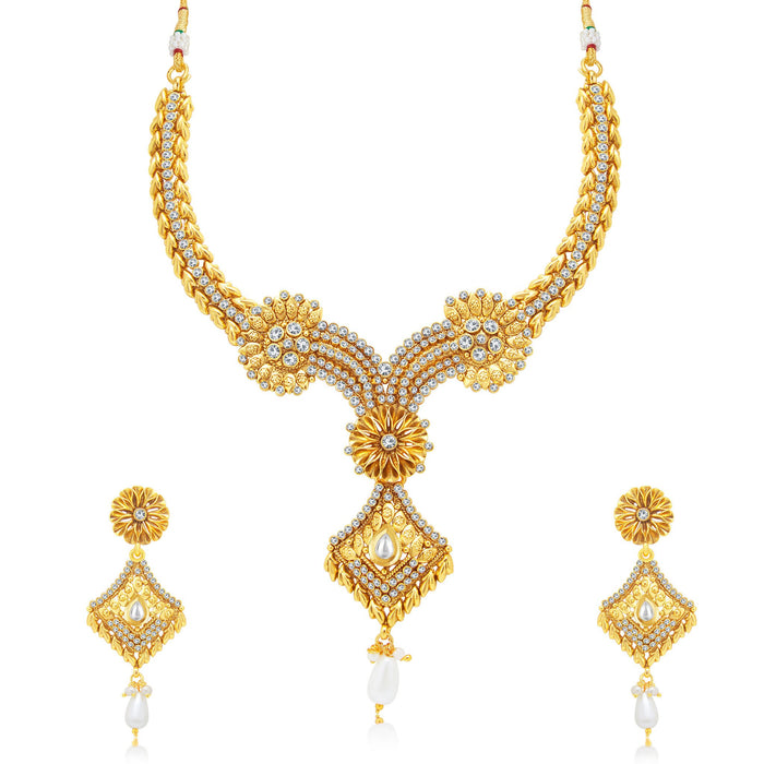 Sukkhi Brilliant Gold Plated Choker Necklace Set For Women