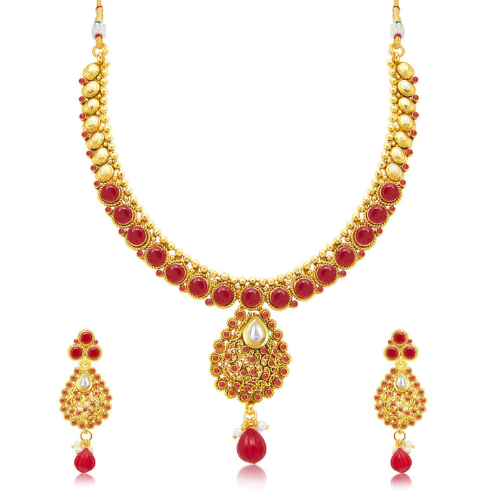 Sukkhi Attractive Gold Plated Maroon Studded Stone Choker Necklace Set For Women
