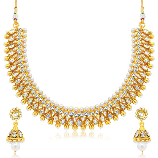 Sukkhi Gorgeous Gold Plated Choker Necklace Set For Women