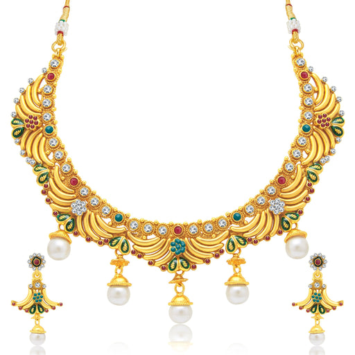 Sukkhi Alluring Gold Plated Choker Necklace Set For Women