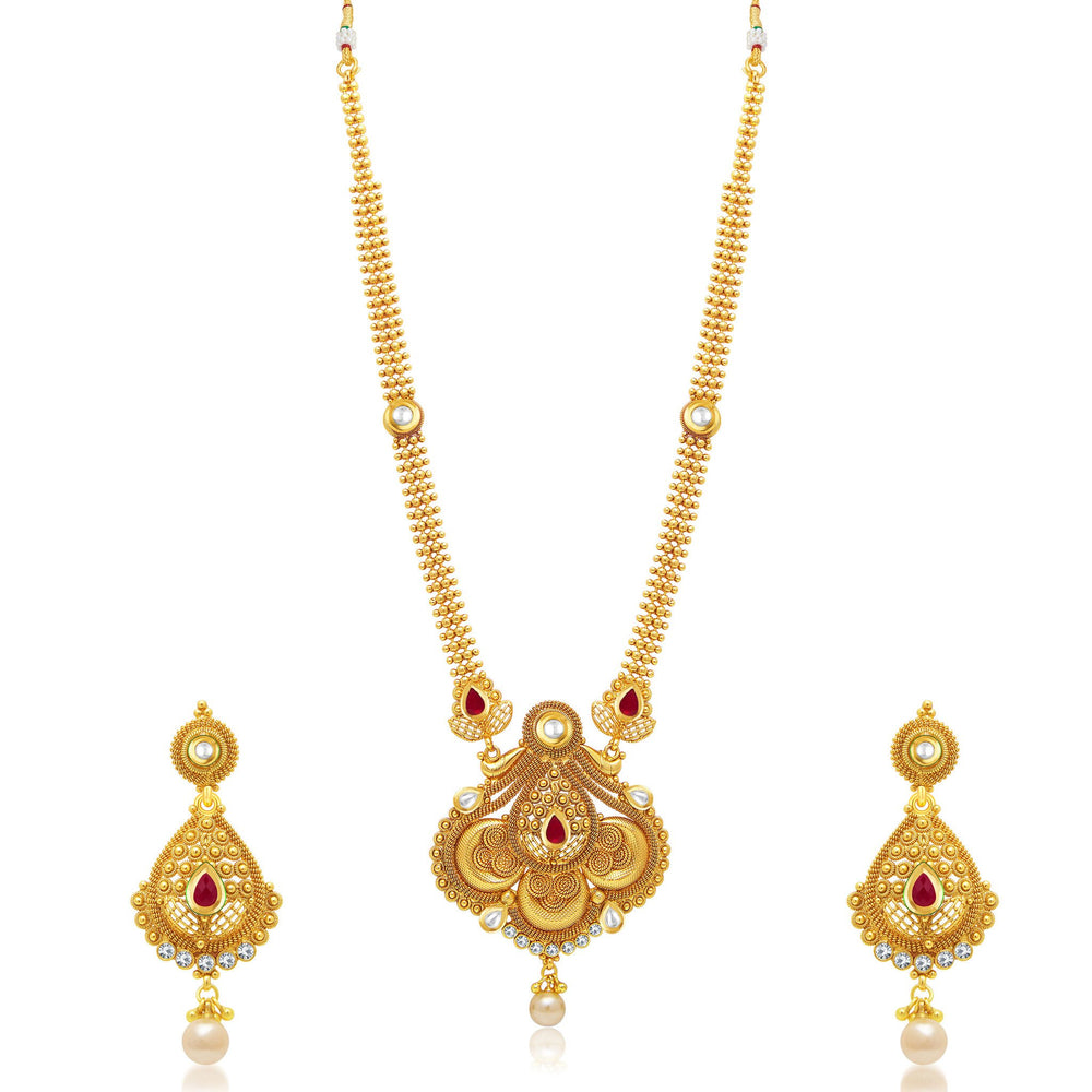 Sukkhi Bewitching Jalebi Gold Plated Long Haram Necklace Set For Women