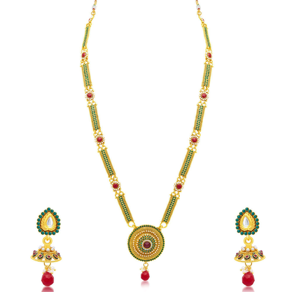 Sukkhi Delightly Gold Plated Long Haram Necklace Set For Women