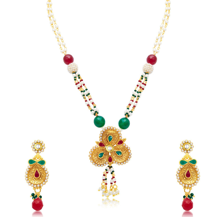 Sukkhi Charming Gold Plated Long Haram Necklace Set For Women