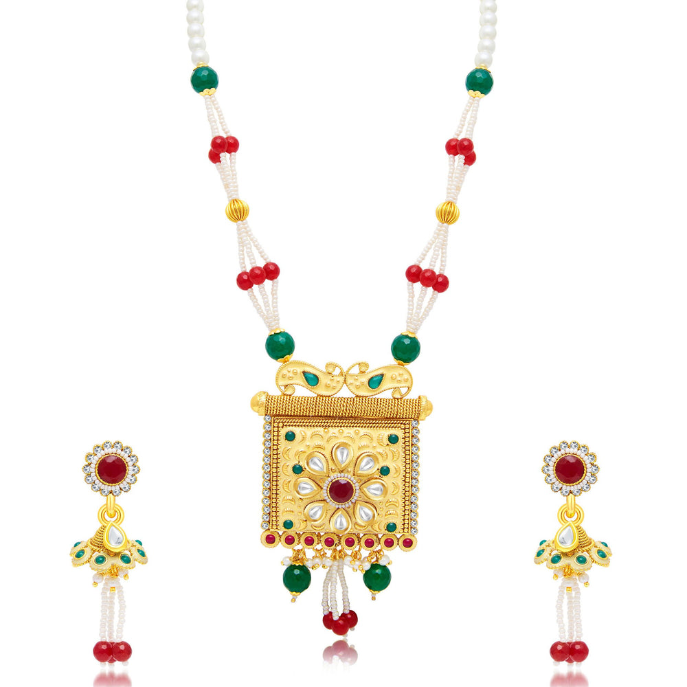 Sukkhi Cluster Gold Plated Long Haram Necklace Set For Women