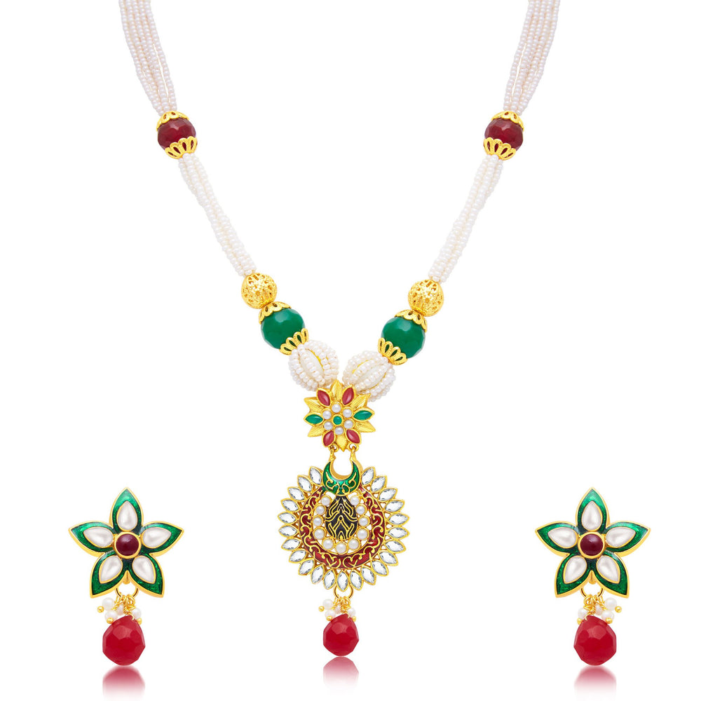 Sukkhi Enchanting Gold Plated Long Haram Necklace Set For Women