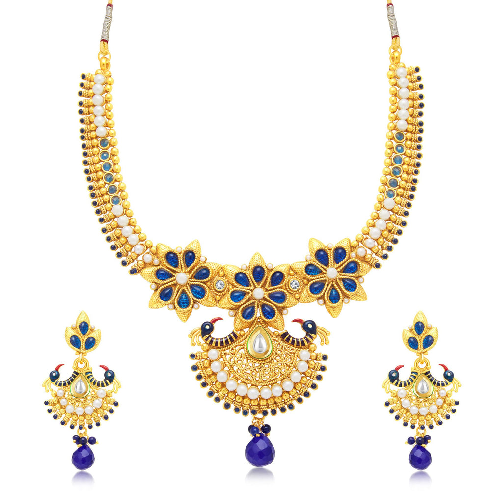 Sukkhi Alluring Peacock Gold Plated Choker Necklace Set For Women