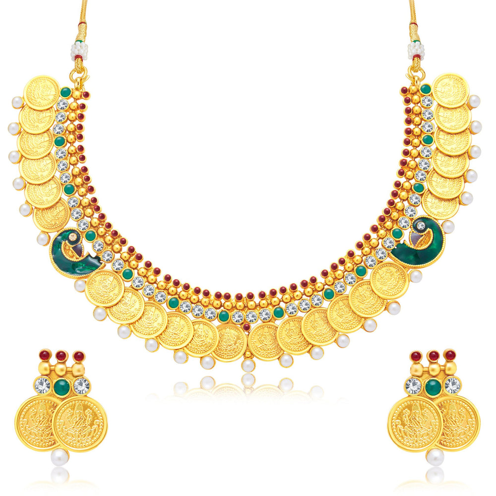 Sukkhi Excellent Laxmi Coin Peacock Gold Plated Traditional Necklace Set For Women