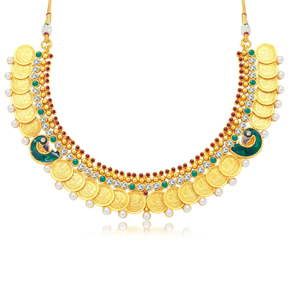 Sukkhi Excellent Laxmi Coin Peacock Gold Plated Traditional Necklace Set For Women-1