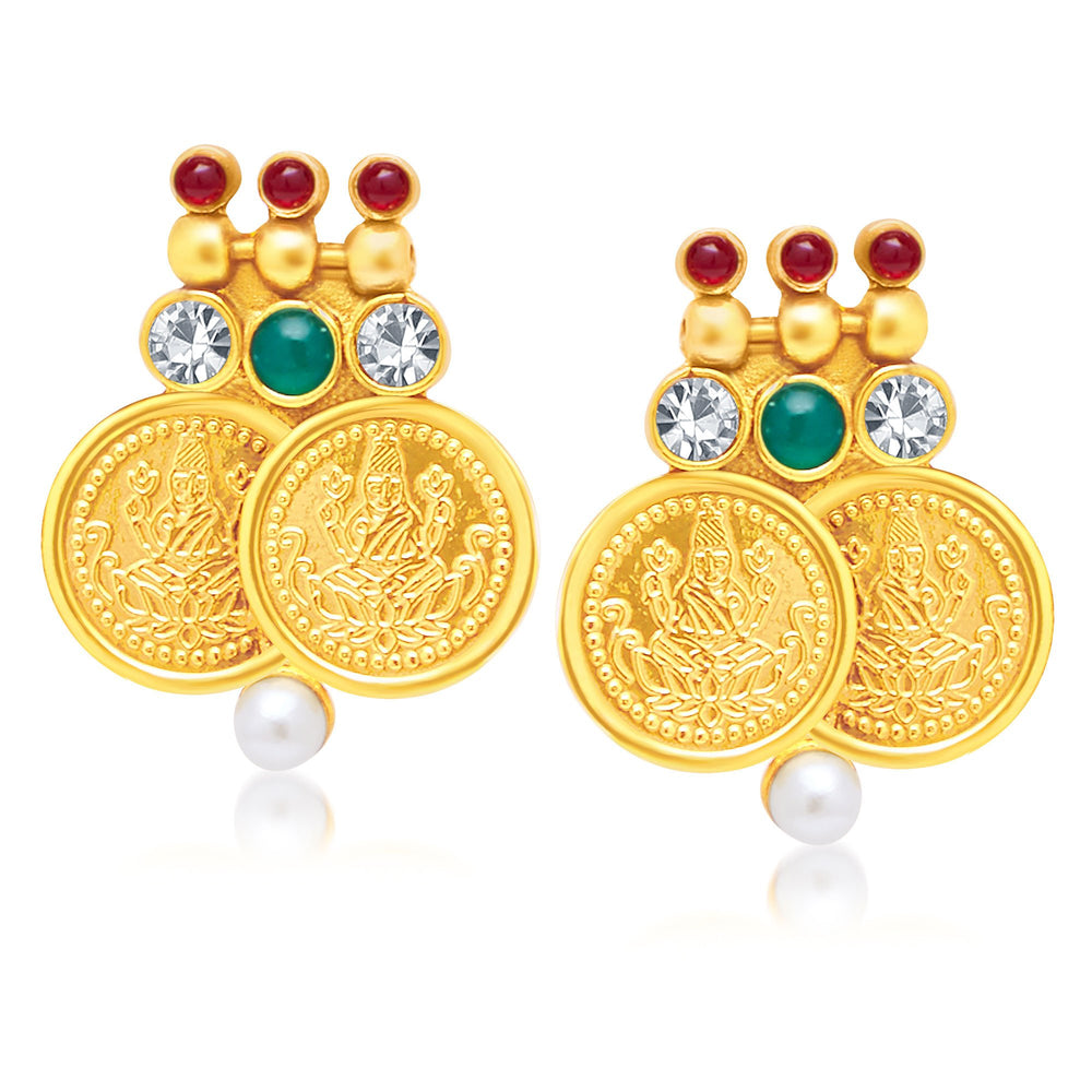 Sukkhi Excellent Laxmi Coin Peacock Gold Plated Traditional Necklace Set For Women-2
