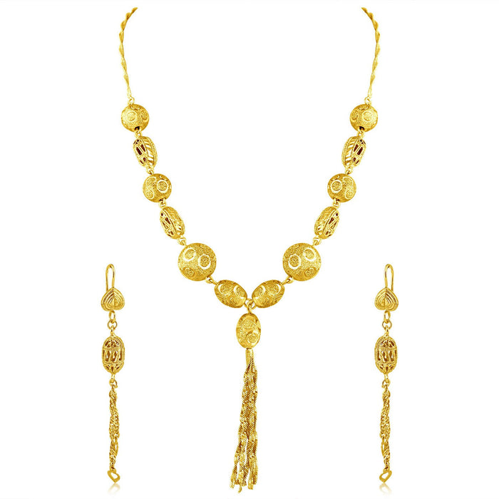 Sukkhi Excellent Gold Plated Tassel Necklace Set For Women