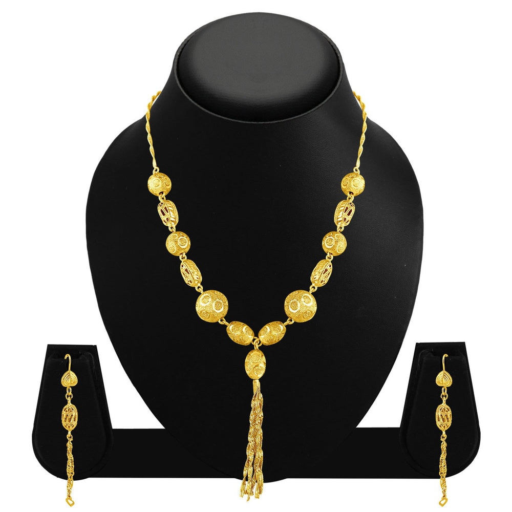 Sukkhi Excellent Gold Plated Tassel Necklace Set For Women-1