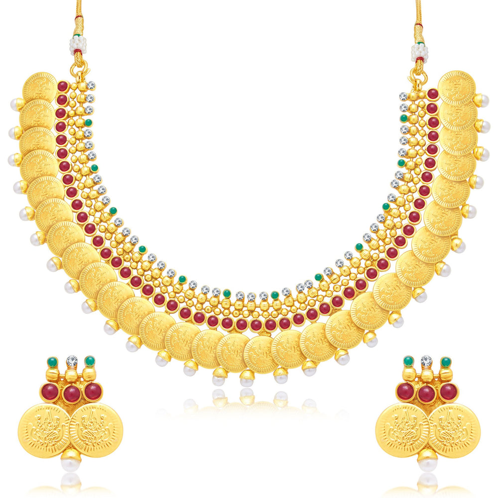 Sukkhi Bewitching Laxmi Coin Gold Plated Traditional Necklace Set For Women